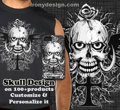 Skull Tattoo Design Products that you can customize.  Graphic Illustration of a black/white/grey skull with a rose poking through one of the bullet holes on his head. With big horns and black wings at the back of his head, propped by a black goth cross and black and gray dead tree branches as a background backdrop. Fully customizable.  There's also a version of this skull design with a scroll banner to personalize. Add your own name.