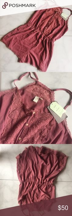 NWT Anthro Romper. Size M This sweet little Romper is the perfect new addition to your wardrobe. It's a dusty pink color with pretty lace details and ivory colored buttons. It's NWT and in perfect condition. Anthropologie Intimates & Sleepwear