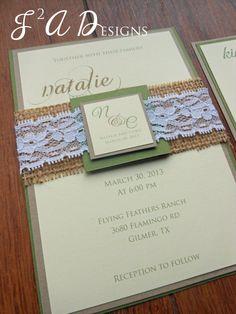 Burlap & Lace Green/Brown/Yellow Wedding Invitation - Olive Green/Kraft paper. $5.60, via Etsy.