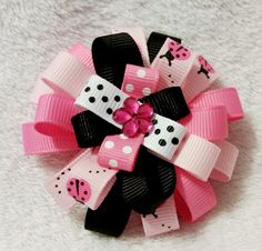 Stacked Flower Loop Hair Bow - Pink Ladybug