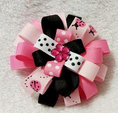 Stacked Flower Loop Hair Bow - Pink Ladybug