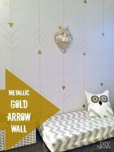 metallic gold arrow wall at diyshowoff.com