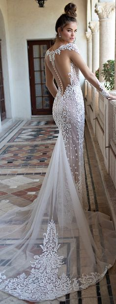 BERTA Wedding Dresses. Fitted mermaid bridal gown with chapel train and open back. Sweetheart lace plunging neckline wedding gown with long sleeves #weddingdress #weddingdresses #bridalgown #bridal #bridalgowns #wedding
