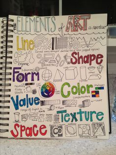 A review of the Elements of Art - a page for the 7th grade art journal. Building on last years knowledge and leading us closer to understanding how the Principles of Design can be applied.