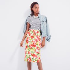 J.Crew Looks We Love: women's stretch denim jacket in pale indigo wash, short-sleeve painter tee in stripe, Collection hibiscus pencil skirt and beaded rope necklace.
