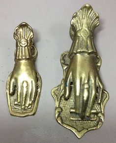 2 Vintage Brass Victoriana Hand Paper Clip Holder Memo Notes Japan Wall Clip    eBay