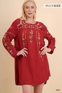 Daphney's Red Dress Embroidered Flowers