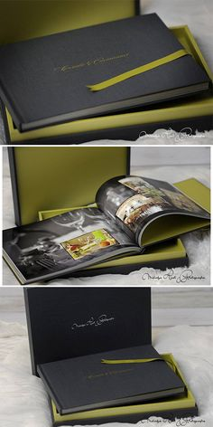 this Primo Book is made in black linen on the box and the cover of the book, the insert is in green linen. ( by Melodye Huat Photographe) #graphistudio #primobook #weddingbook #weddingphotography #design #ideas