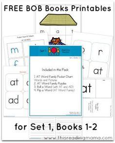 FREE BOB Books Printables for Set 1 Books 1-2 This Reading Mama