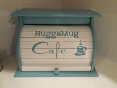 Breadbox painted with pure white and Provence. Words created using cricut.