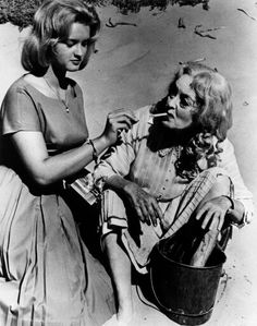 Bette Davis and Daughter BD Hyman on the beach set of Whatever Happened to Baby Jane?