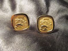 Zodiac Cancer Gold Tone Cuff Links by DresdenCreations on Etsy, $20.00
