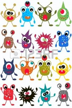 creatures multi Seamless Monster Pattern Stock Photo - Image: just for the monster faces. Monster Art, Cute Monsters, Little Monsters, Art For Kids, Crafts For Kids, Arts And Crafts, Applique Patterns, Art Plastique, Elementary Art