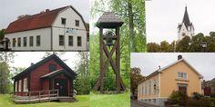 Nora, Sweden - Collage of 4 of the churches - Collage av fyra olika kyrkor
