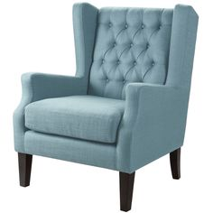 This classic wing chair with its button tufted detailing and sloped arms adds a casual twist with its pool blue casual woven fabric.