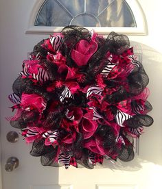 Pink and black mesh wreath with zebra and argyle ribbons  on Etsy, $88.00