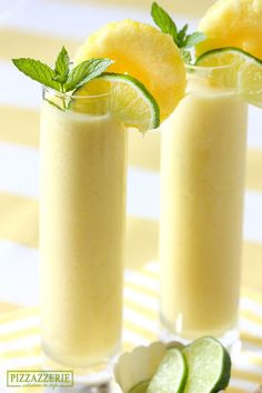 Frozen Pineapple Cooler Recipe - SO refreshing! Great for a barbecue, yummy dessert or morning juice.