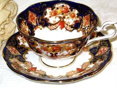 Royal Albert COBALT BLUE HEIRLOOM RUST GOLD Tea Cup and Saucer Wide Teacup #RoyalAlbertEngland