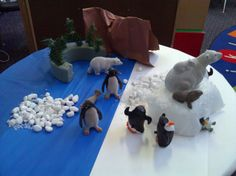 Winter animal scene in dramatic play.