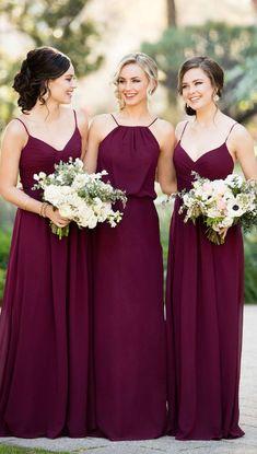 Burgundy Bridesmaid Dresses, Long Bridesmaid Dresses, Zipper Bridesmaid Dresses, Ruffles Bridesmaid Dresses, Straps Bridesmaid Dresses, Sleeveless Bridesmaid Dresses
