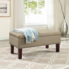 Ottoman Storage Linen Bedroom Chair Home Master