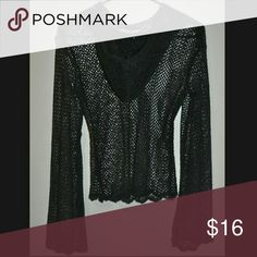 Black Hooded Net Long Sleeve Top Pretty! No Flaws! no size tag, fits like a loose fitting small Tops