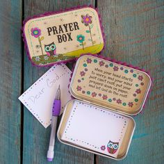 Prayer boxes help melt away worries. And our Owl Prayer Box is no exception. Box comes adorned with owl and flower on top, magenta pompom trim, and inspirational message on inside. These are lovely owl gifts that are spiritual as well.