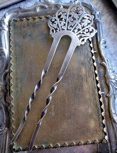 Antique Hair Pin - Vintage Sterling Silver Filigree