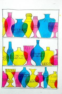 Pensando a qualcosa di decorativo, colorato e trasparente abbiamo pensato ai vetri di Murano, per fare un esercizio sui colori primari e secondari. Dopo aver disegnato delle bottiglie e dei vasi so…