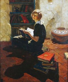 Portrait of a Young Woman Reading. Dean Cornwell (American, Oil on canvas. Cornwell was known as the 'Dean of Illustrators.' He created over illustrations for poems, stories, and. Reading Art, Woman Reading, Reading Books, Art And Illustration, Candy Y Terry, Dean Cornwell, Art Ancien, Lectures, Oeuvre D'art