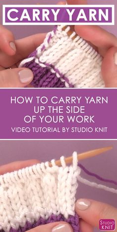 How to Carry Yarn Up the Side of Your Work with Video Tutorial by Studio Knit . - How to Carry Yarn Up the Side of Your Work with Video Tutorial by Studio Knit … How to Carry Yarn Up the Side of Your Work with Video Tutorial by Studio Knit Knitting Help, Knitting Kits, Arm Knitting, Knitting For Beginners, Knitting Stitches, Knitting Designs, Knitting Patterns Free, Knitting Projects, Knitting Tutorials