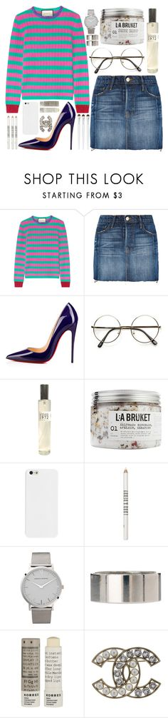 """""""the best time to wear a striped sweater"""" by steeniebean ❤ liked on Polyvore featuring Gucci, Frame, Christian Louboutin, SkinCare, Lord & Berry, Larsson & Jennings, ASOS, Korres, Chanel and Liz Earle"""