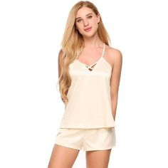 Dresslink - Dresslink Beige Satin Cross Strap V-neck Cami Top and Shorts Pajamas Set - AdoreWe.com