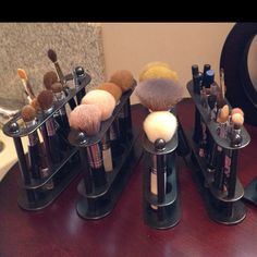 Use toothbrush holders from Kohl's to store make-up brushes & keep the bristles from getting bent! :)