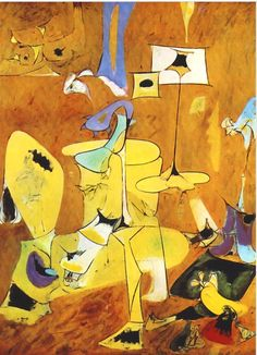 """""""The Betrothal II"""" painted by Arshile Gorky and Completed in Abstract Expressionism Color Scheme: Yellow's, Blue's, White's, Black's, Purple's Modern Art, Abstract Expressionism, Expressionism Painting, Artist, Abstract Painting, Painting, Abstract, Contemporary Art, Abstract Expressionist"""