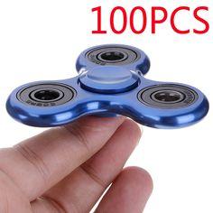 100X Blue Metal 3D Fidget Tri-Spinner Stress Relief Adults Kids Toys