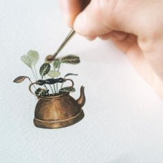 Today's inspiration: this red maranta peeking out of a brass teapot I decided was too grungy to use in the kitchen. #rivuletpaper