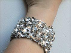 Rhinestone Cuff Bracelet Crystal Mosaic by LostPemberlyDesigns