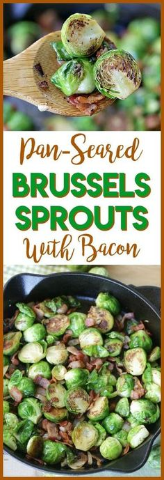 Pan-Seared Brussels Sprouts With Bacon are a super quick side dish ready in 20 minutes flat! It's the perfect recipe to serve at Thanksgiving or for a weeknight meal. #SideDish #Recipe #Thanksgiving
