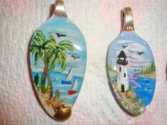 hand painted pendants, hand painted spoons by pbowes1111, via Flickr