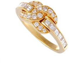 Preowned Tiffany & Co. Diamond Pave Interlocking Gold Ring (8.475 BRL) ❤ liked on Polyvore featuring jewelry, rings, cocktail rings, multiple, pave diamond ring, gold jewelry, 18 karat gold ring, statement rings and pre owned rings