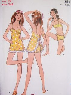 1960s Swimsuit With Top Variation Beach Wear Pattern Butterick 5787 Bikini  Bathing Suit or Empire Skirt Attached To Top Really Cute Mod Style Bust 34 Vintage Sewing Pattern FACTORY FOLDED