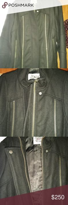 FIRETRAP Wool Motorcycle Jacket 6-8 FIRETRAP wool coat, zippers, suit details, rocker, punk, motorcycle, Black, MED   Black wool, (pea coat style) Thinner, high-end spun wool yarns. SUPER SOFT!  Size MED, (smaller side of Med.) … fits like a US 6-8  So many little features and attention to detail Vented in back and custom made with multiple high end suit details. zipper front, full wrap collar zippers for accents down both sides shorter/cropped style that will hit just above hip.  NEVER… Pea Coat, Black Wool, Wool Coat, Custom Made, Motorcycle Jacket, Leather Jacket, Zipper, Suits, Jackets