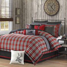 Plaid bedroom (bed,red, gray, rustic)