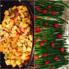 Baked Asparagus and Pot Roast! Tired of bland meals and wanting to spice it up a bit?! I spiced it up this week.. Try it out!  Baked Asparagus:  1. Preheat oven to 350 degrees 2. Steam asparagus for two minutes in a skillet. 3. Transition to baking sheet and add a half cup of cherry tomatoes drizzle with 1/4 cup extra virgin olive oil and sprinkle with a 1/2 teaspoon of sea salt (you can add a bit of pepper or garlic too)  4. Bake for ten minutes  Boom.. So yummy!  My babies love my slow…