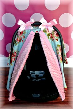 car seat cover canopy, infant car seat cover, black, white, pink, damask, bows, stripe, polka dot, baby car seat, infant girl, baby girl, baby