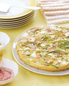 Potato, Scallion, and Goat Cheese Frittata   Martha Stewart Living - Frittatas are a favorite weekend dish at Amy's house; this one is creamy and tangy, thanks to goat cheese.