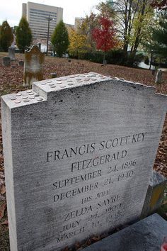 The Great Gatsby | F. Scott Fitzgerald (1896-1940) is buried at Rockville Cemetery, MD (by Kodamakitty, via Flickr).