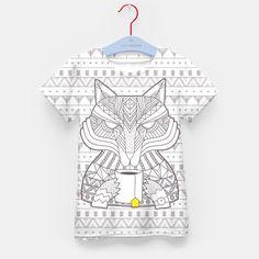 Wolf drinking tea Kid's T-shirt, Live Heroes