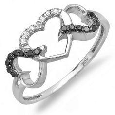 Round Black and White Diamond Ladies Promise Three Heart Infinity  LOVE IITTT!